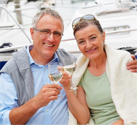 Happy retired couple invested in gold